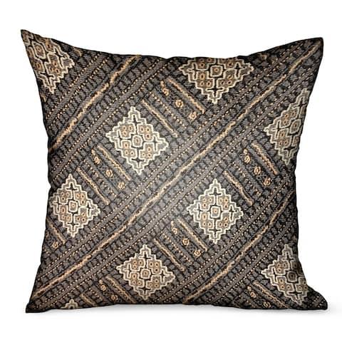 Plutus Pewter Lattice Charcoal Geometric Luxury Outdoor/Indoor Decorative Throw Pillow