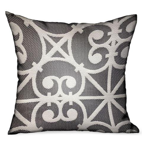 Plutus Abalone Truffle Gray Chevron Luxury Outdoor/Indoor Decorative Throw Pillow