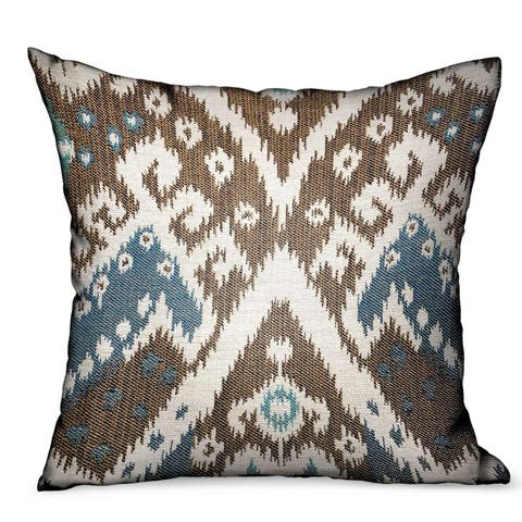 Plutus Shoshone Valley Blue Brown Ikat Luxury Outdoor/Indoor Decorative Throw Pillow