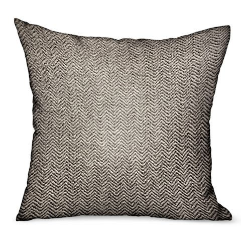 Plutus Jagged Ash Gray Chevron Luxury Outdoor/Indoor Decorative Throw Pillow