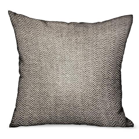 Plutus Jagged Ash Gray Chevron Luxury Outdoor/Indoor Decorative Throw Pillow