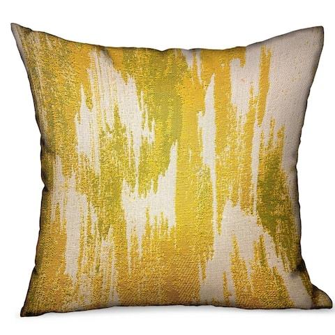 Plutus Saffron Love Yellow Ikat Luxury Outdoor/Indoor Decorative Throw Pillow