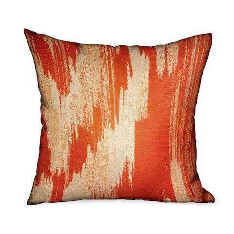 Plutus Tangelo Avalanche Orange Ikat Luxury Outdoor Decorative Throw Pillow