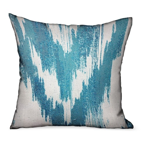 Plutus Teal Avalanche Blue Ikat Luxury Outdoor/Indoor Decorative Throw Pillow
