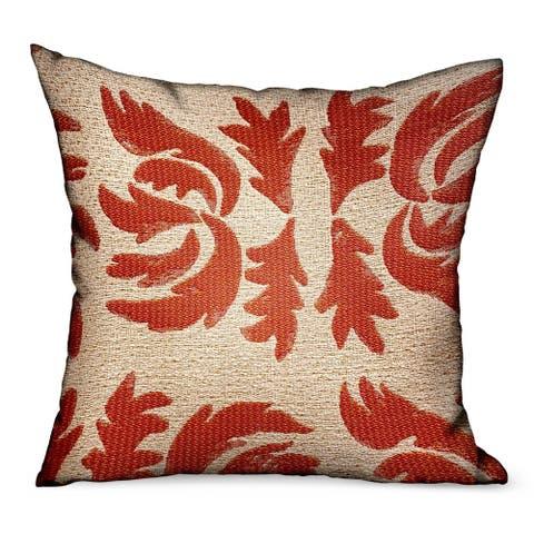 Plutus Claret Leaflet Orange Paisley Luxury Outdoor/Indoor Decorative Throw Pillow