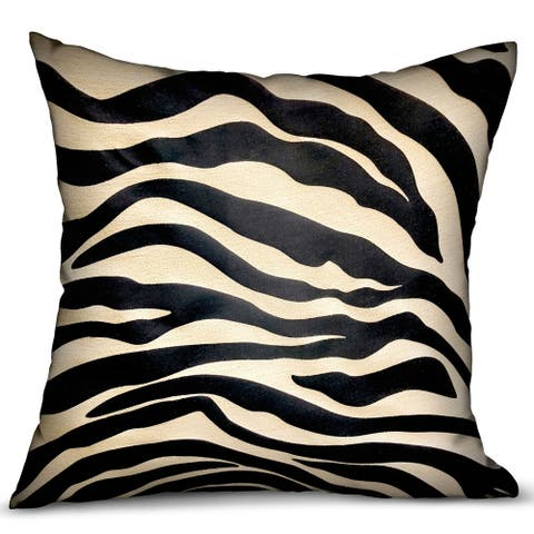 Plutus Black Zebra Black Animal Motif Luxury Decorative Throw Pillow