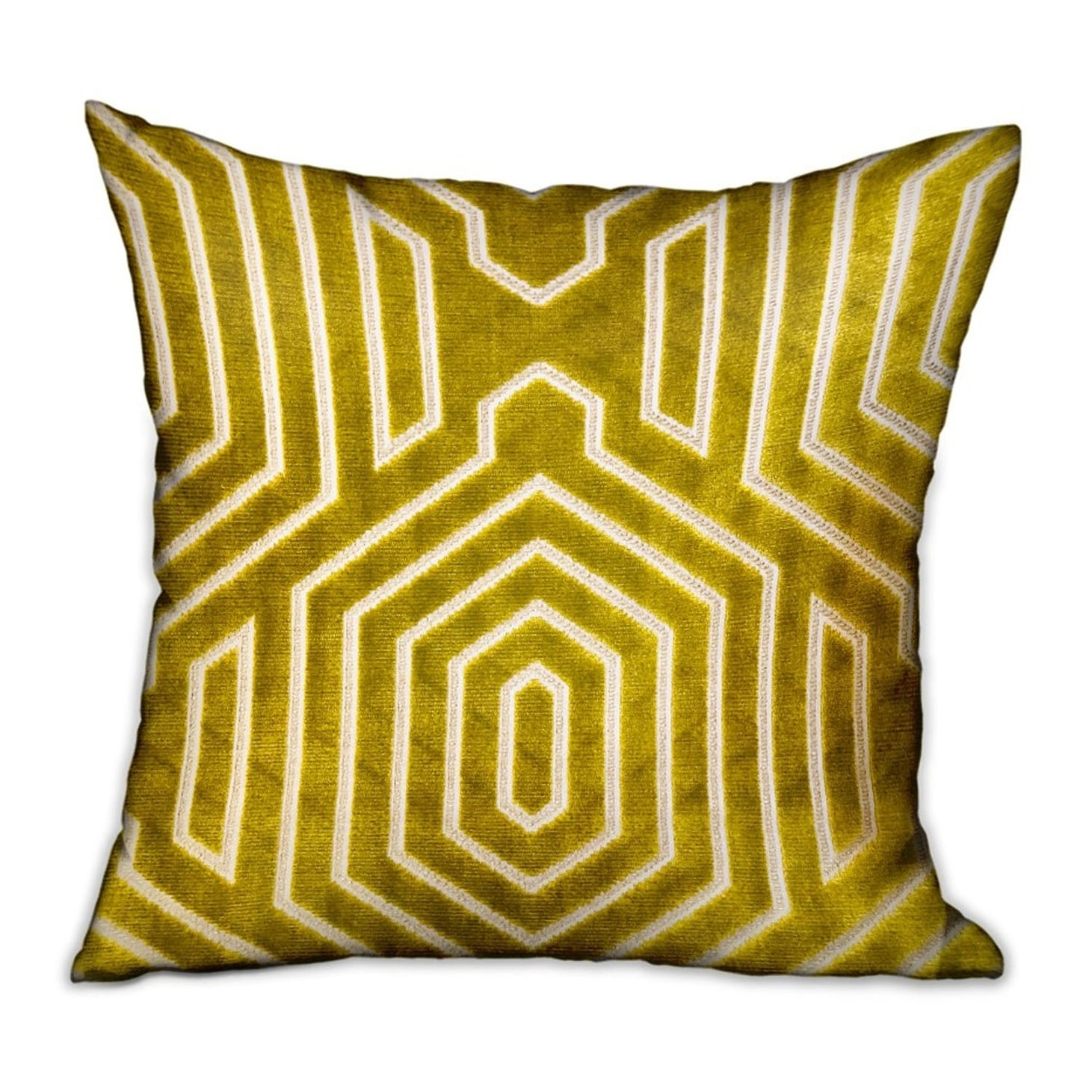 Plutus Goldenrod Velvet Gold Geometric Luxury Decorative Throw Pillow