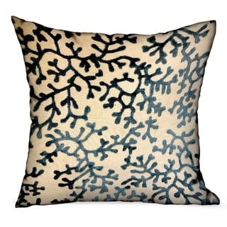 Plutus Deep Blue Reef Blue, cream Floral Luxury Decorative Throw Pillow