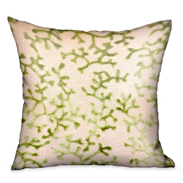 Plutus Sage Reef Apple Green Floral Luxury Decorative Throw Pillow