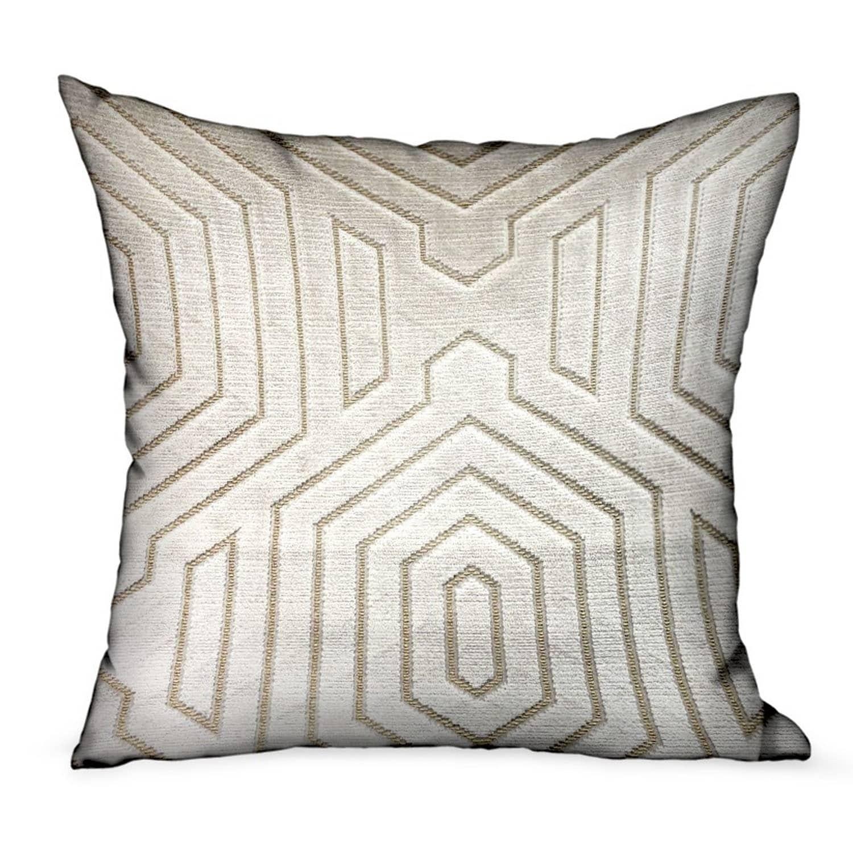 Plutus Pearly Velvet Gray Geometric Luxury Decorative Throw Pillow