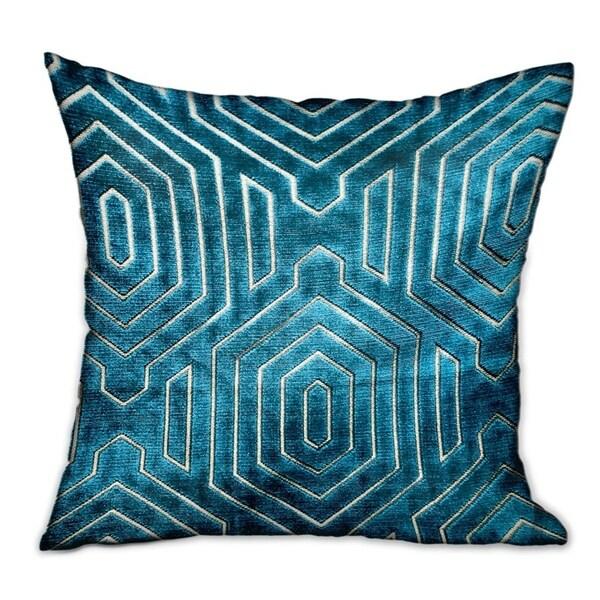 Plutus Cerulean Velvet Blue Geometric Luxury Decorative Throw Pillow