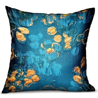 Plutus Bronze Blossom Blue Floral Luxury Decorative Throw Pillow