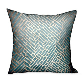 Plutus Golden Brick Blue Geometric Luxury Decorative Throw Pillow