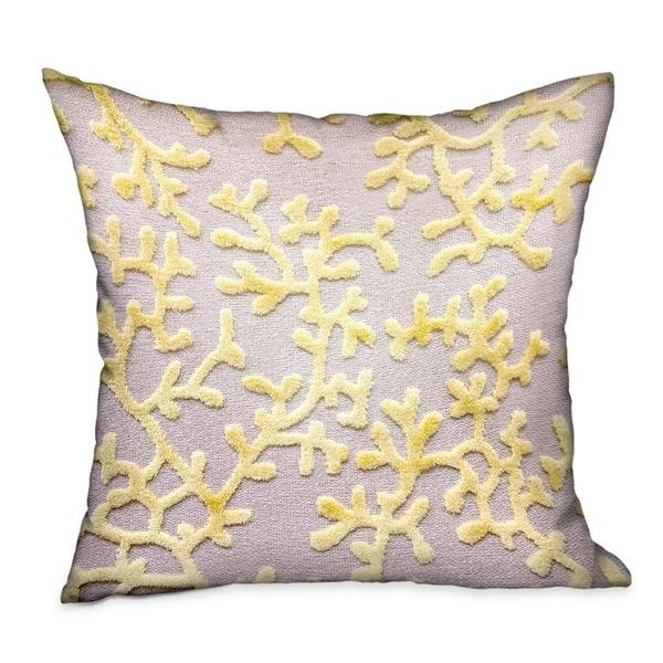 Plutus Lemon Reef Yellow, Cream Floral Luxury Throw Pillow