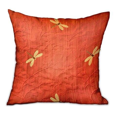 Plutus Firefly Red Animal Motif Luxury Decorative Throw Pillow