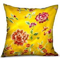 Plutus Heavenly Peonies Yellow Floral Luxury Throw Pillow