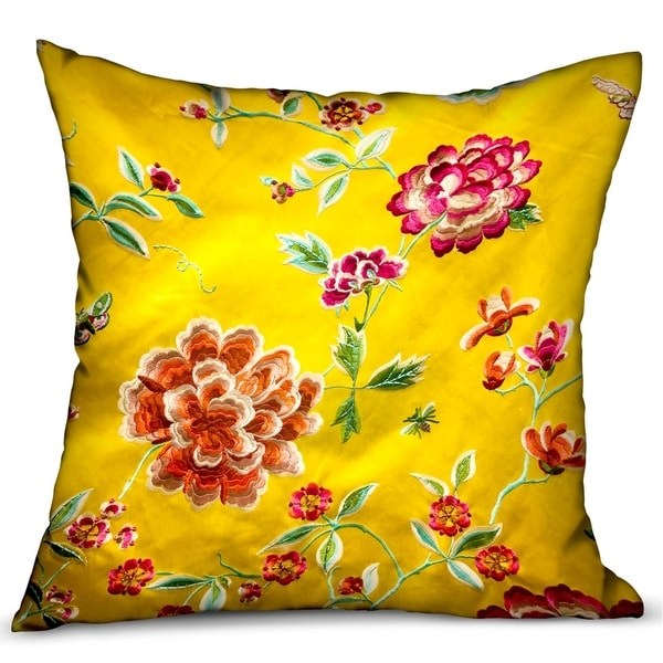 Plutus Heavenly Peonies Yellow Floral Luxury Decorative Throw Pillow