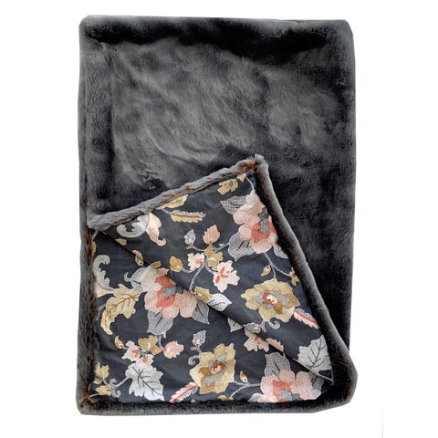Plutus Two Tone Gray/Amber Handmade Luxury Blanket with Floral Backing