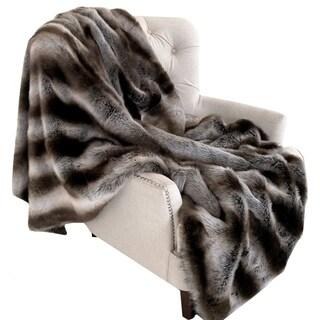 Plutus Fancy Gray Silver Chinchilla Faux Fur Handmade Luxury Blanket