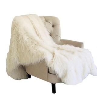 Plutus Off-White Mongolian Faux Fur Luxury Blanket