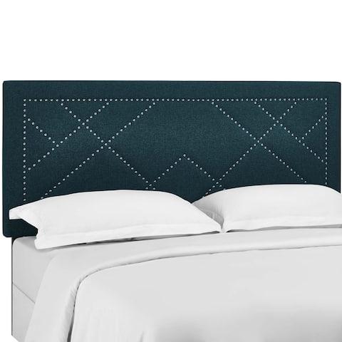 Carson Carrington Stryn Nailhead Upholstered Linen Headboard
