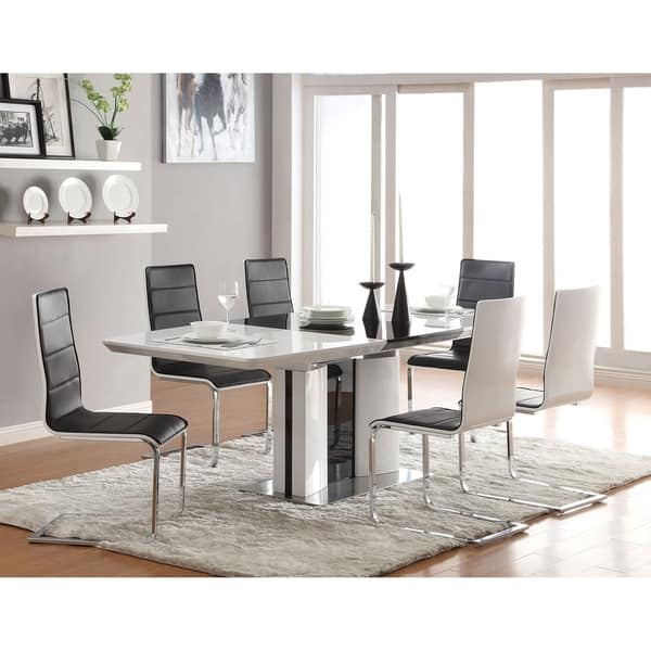 Jazmin Contemporary White And Black 5 Piece Dining Set Overstock 27348571