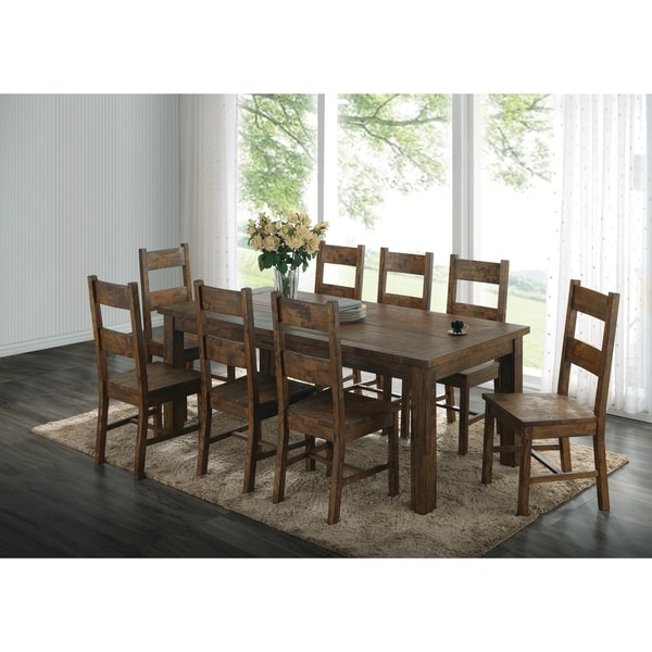 Shop Mina Rustic Golden Brown 7 Piece Shaker Dining Set   On Sale   Free  Shipping Today   Overstock   27348631