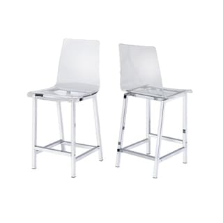 Alba Clear and Chrome Stools (Set of 2)