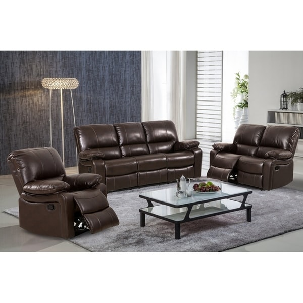 Cantemir 3 Pieces Modern Reclining Sofa set Upholstered in Leather Gel