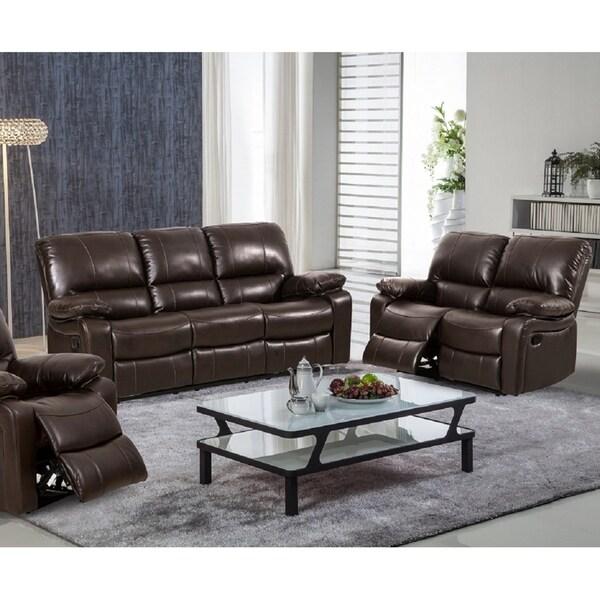 Shop Iargara Modern Reclining Sofa & Loveseat Upholstered in Leather ...