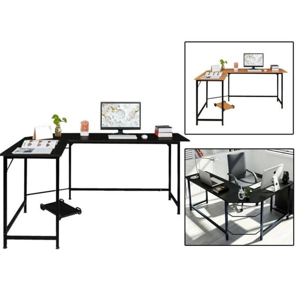 Porch & Den Broad Modern L-shaped PC Latop Study Computer Corner Desk