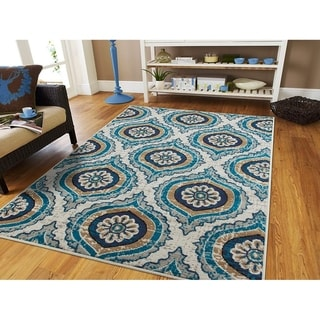 The Curated Nomad Newell Contemporary Floral Medallion Jute-backed Area Rug