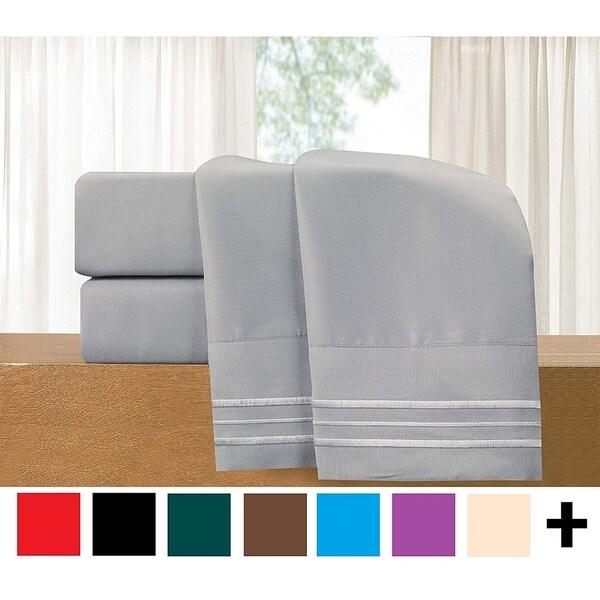 Elegant Comfort 4-Piece Cozy Soft 3-Line Sheet Set with Deep Pockets