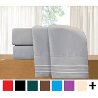 Elegant Comfort 4-Piece Cozy Soft 3-Line Sheet Set with Deep Pockets
