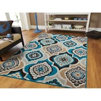 The Curated Nomad Newell Modern Floral Diamond Area Rug