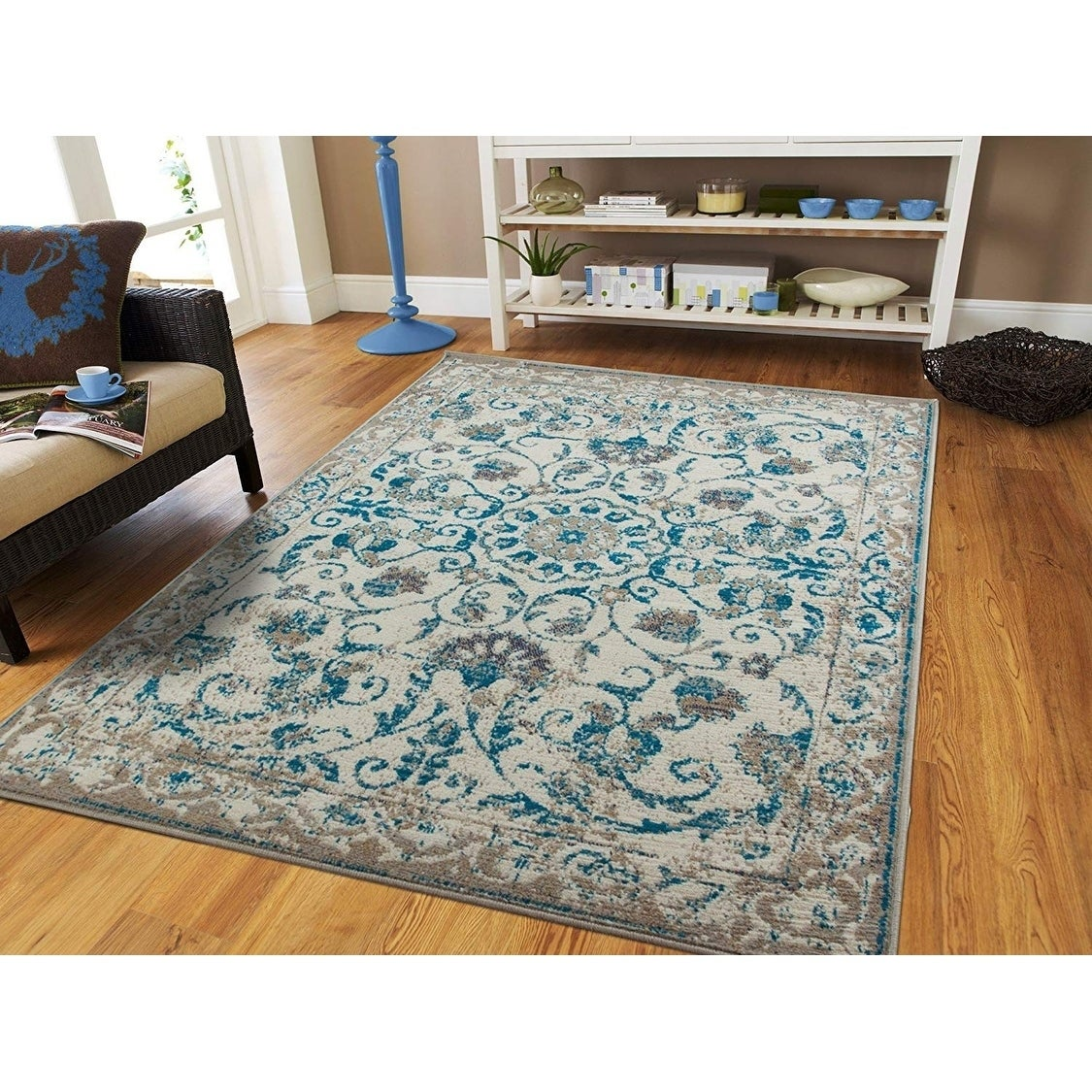 Copper Grove Vannes Modern Distressed Blue and Grey Floral Area Rug
