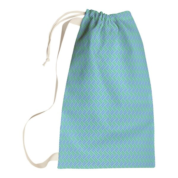 Katelyn Elizabeth Blue Pastel Stripe Diamonds Laundry Bag
