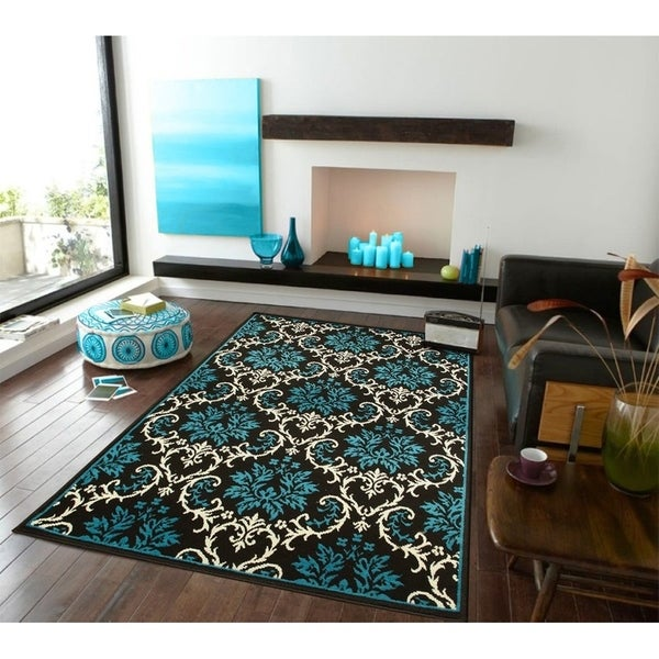 rey living room pertaining to modern area rug | Shop Copper Grove Fontenay Modern Blue Floral Area Rug ...