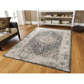 Copper Grove Chelles Distressed Grey Area Rug