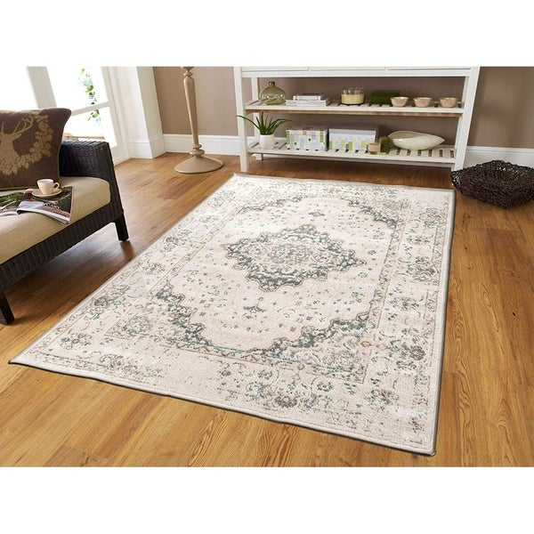 Copper Grove Tsarevo Distressed Ivory Blue Gray Area Rug. Opens flyout.