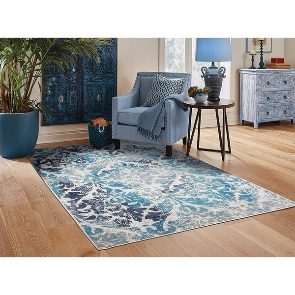 Shop Modern Distressed Area Rugs Teal Living Room Rug