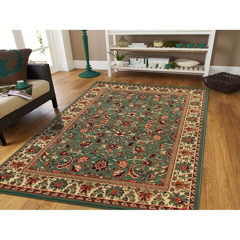 Copper Grove Sozopol Traditional Green Area Rug with Natural Jute Backing