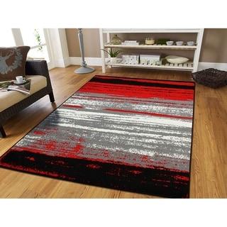 Porch & Den Lagos Red/ Grey Modern Area Rug