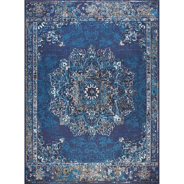 Traditional Distressed Area Rugs Navy Rugs
