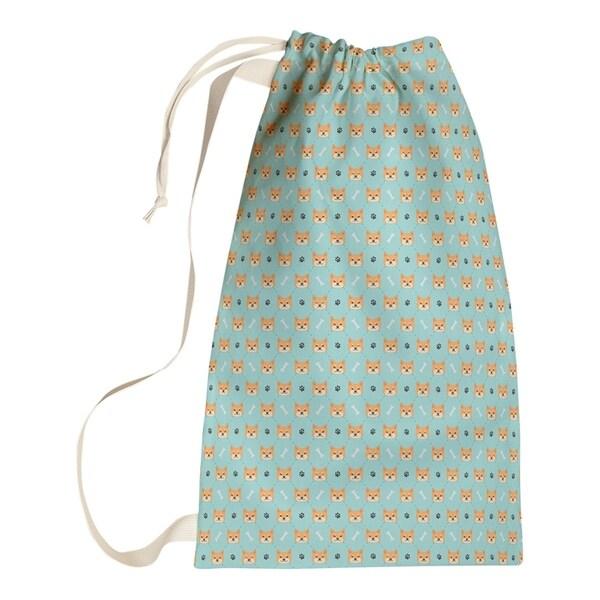 Katelyn Elizabeth Teal Shiba Inu Pattern Laundry Bag