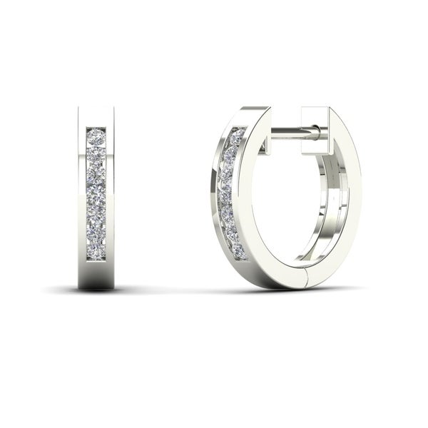 AALILLY 14k White Gold 1/10ct TDW Diamond Huggie Hoop Earrings (H-I, I1-I2)