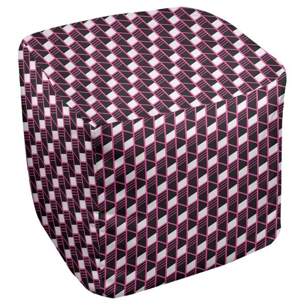Katelyn Elizabeth Pink Geometric Stripes Ottoman