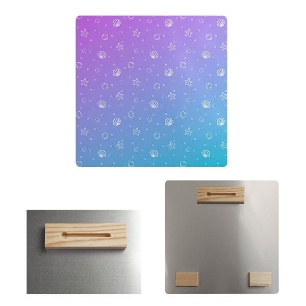 Katelyn Elizabeth Purple & Blue Seashell Pattern Metal Print