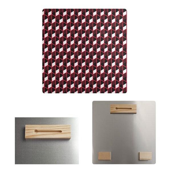 Katelyn Elizabeth Red Geometric Stripes Metal Print