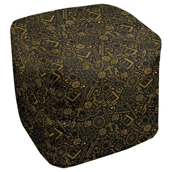 Katelyn Elizabeth Black & Yellow RPG Pattern Ottoman